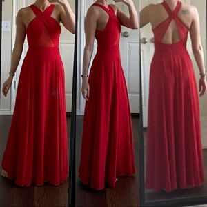 Fame and Partners red mesh cutout formal dress